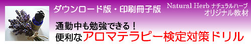 癒しのアロマショップ「Natural Herb ナチュラルハーブ」アロマテラピー通販の紹介サイト。「通勤中も勉強できる!便利なアロマテラピー検定対策ドリル」(社)日本アロマ環境協会(AEAJ)1級・2級対応
